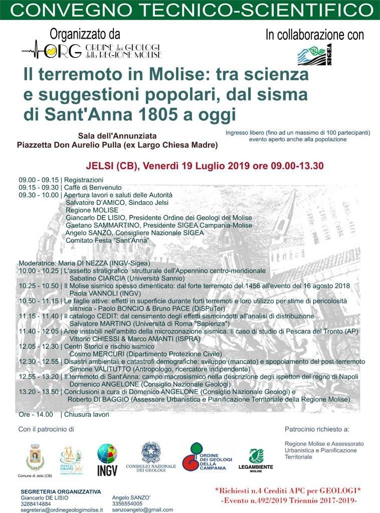 19/07 Convegno Tecnico-Scientifico sul Terremoto in Molise
