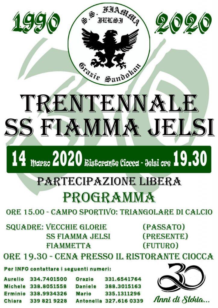 14 Marzo 2020 – Trentennale S.S. Fiamma Jelsi