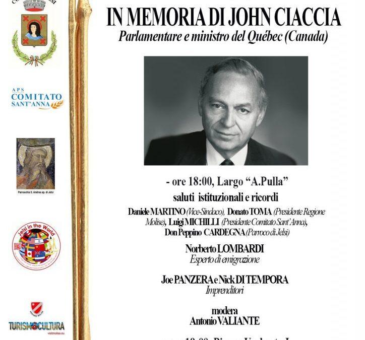 In Memoria di John Ciaccia. Sabato, 28 agosto 2021